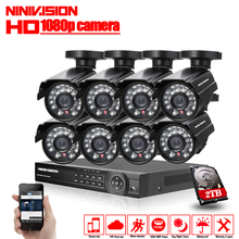 1080P 8CH CCTV Security System 8 channel HDMI AHD NVR DVR HD 2.0MP outdoor indoor Camera kit Video Surveillance System 2TB HDD
