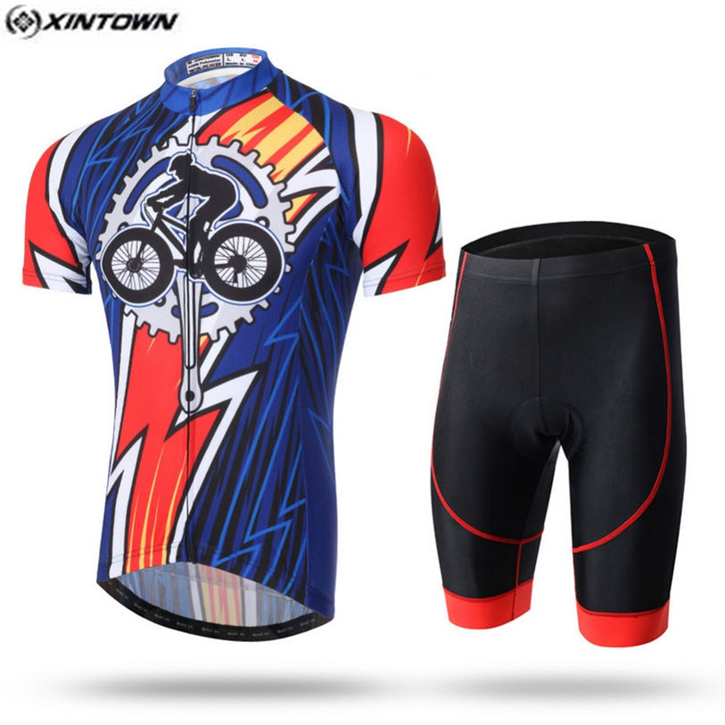 HOT XINTOWN Pro Bike Jerseys Bib Shorts Sets Men Blue Riding Sports Bicycle Clothing Suits Cycling Wear Shirts mtb Jersey Shorts xintown men s outdoor cycling jersey sets bib shorts sport short sleeve cycling jersey mountain bike clothing wear suit