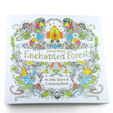 24 Pages New Enchanted Forest English Edition Coloring Book Children Adult Relieve Stress Kill Time Painting