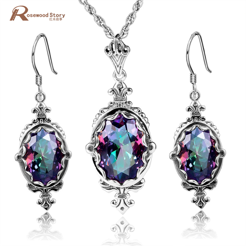 Cheap Wedding Jewelry Set Mystic Rainbow Crystal Soild 925 Sterling Silver Jewelry Sets Sliver Earrings/Pendant Vintage Style все цены