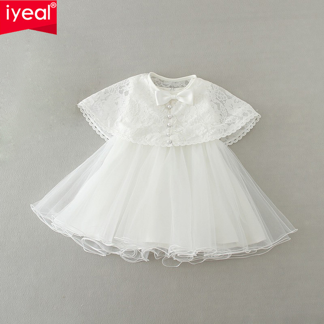 2016 New Infant Baby Girls 1 year Birthday Dress With Lace Shawl Kids Children Wedding Party Dresses Little Girl Clothes 0-2Y