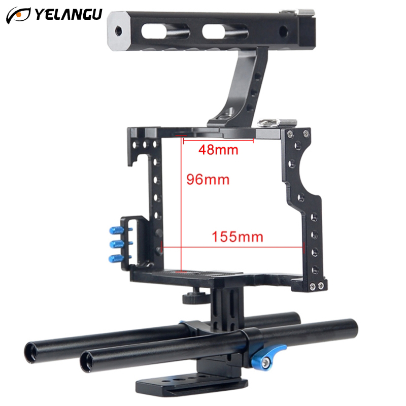 YELANGU DSLR Rig Video Stabilizer Mount Rig DSLR Cage Handheld Stabilizer For Canon Nikon Sony DSLR Camera Video Camcorder yelangu professional dslr dual handle shoulder mount rig video dv accessories for canon 5d2 5d3 7d 70d 60d 5d mark iii d810 d610