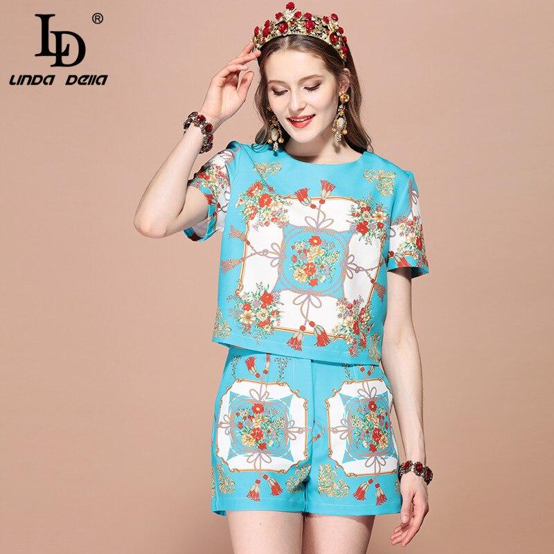 LD LINDA DELLA 2019 패션 활주로 여름 정장 여성 꽃 인쇄 짧은 소매 티셔츠 높은 허리 반바지 조각 세트-에서여성 세트부터 여성 의류 의  그룹 3