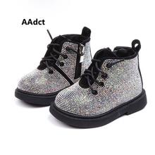 AAdct/теплые хлопковые ботинки с кристаллами для маленьких девочек; нескользящие блестящие детские ботинки; коллекция года; зимняя детская обувь принцессы; мягкая подошва; для детей 1-3 лет