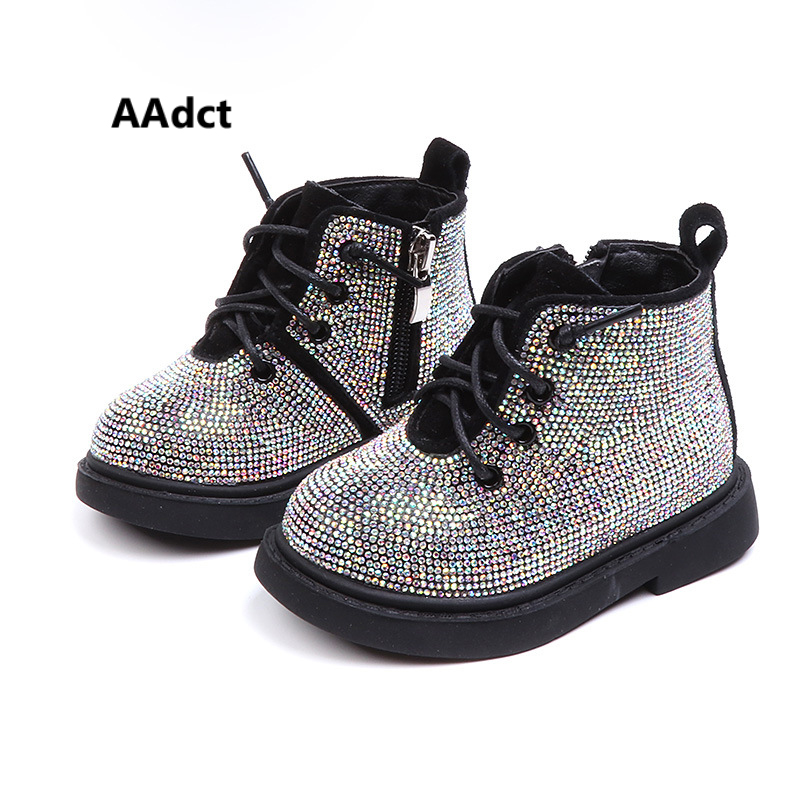 AAdct Cotton Warm Crystal Little Girls Boots Non-slip Shinning Baby Boots 2019 Winter Princess Baby Shoes Soft Sole 1-3 Years