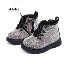 AAdct 면화 따뜻한 크리스탈 어린 소녀 부츠 미끄럼 방지 shinning 아기 부츠 2019 겨울 공주 아기 신발 부드러운 단독 1 3 년