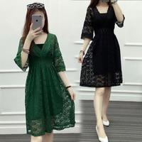 Mozhini Black fashion Dress big Large Size Woman loose Party Dress sexy Elegant lovely Dress big Size XL XXL women lace dress