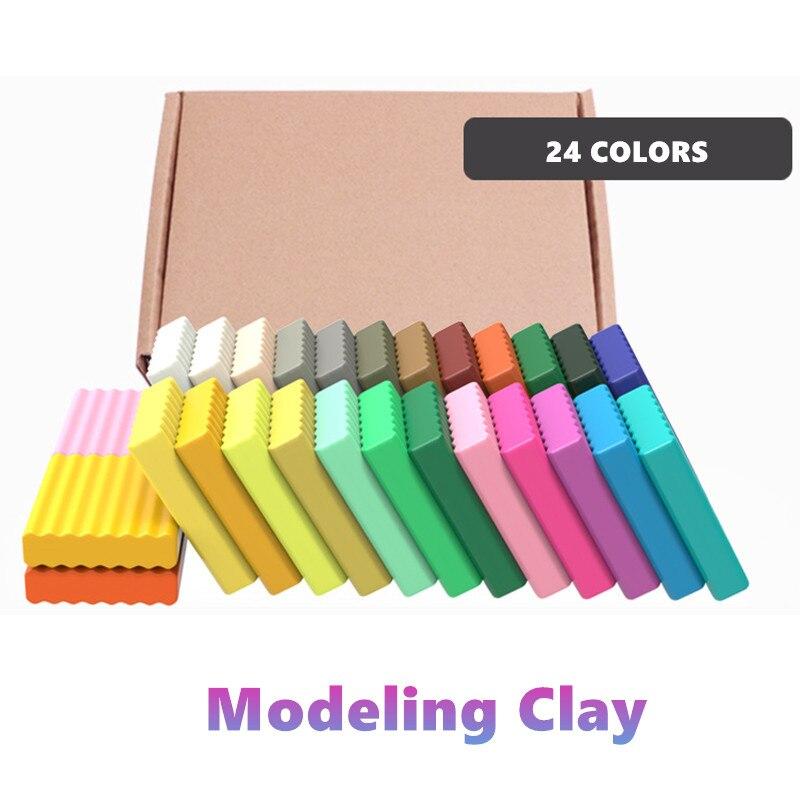 Diy 24 pçs fimo polímero argila cozimento kit de fundição mão quebra-cabeça modelagem bebê handprint slime lizun diversão brinquedos para crianças