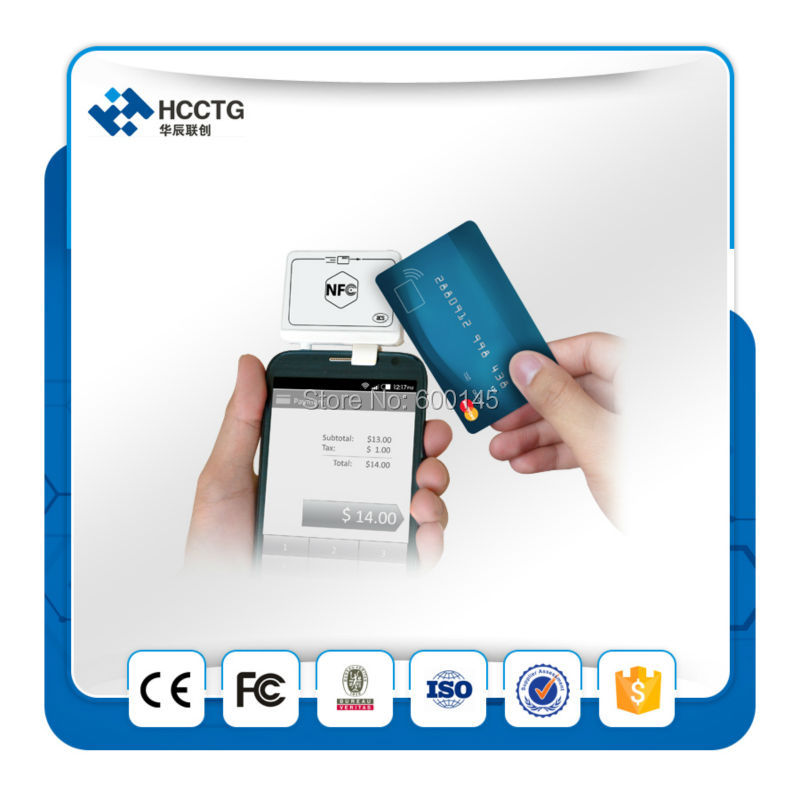 2-in-1 RFID NFC MPOS Mobile Magnetic Card Reader + NFC Reader & Writer For iOS Android Mobile Bank&Payment--ACR35 acr1255u 13 56mhz rfid card reader writer usb interface for wireless android bluetooth nfc reader