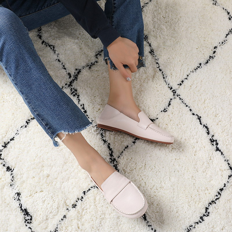 Outdoor Causal Shoes Leather Women Walking Shoesl Flat Fashion Comfortable Soft White Lifestyle Shoes for Women JINBEIE