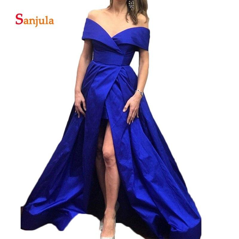 Robes De bal bleu Royal 2019 épaule haute Split Satin vert élégant longue Robe De soirée Robe De soirée Robe De Soire D777