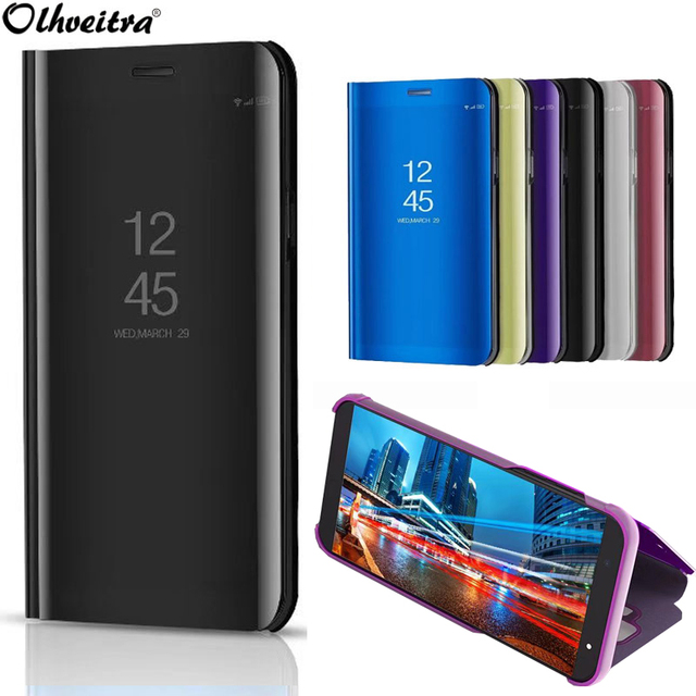 biggest discount e3107 9a6d8 US $4.99 |Mirror Cover For Samsung J6 2018 J4 2018 Case Plating Protective  Clear View Flip Stand Case For Samsung Galaxy J6 2018 J8 2018-in Flip Cases  ...