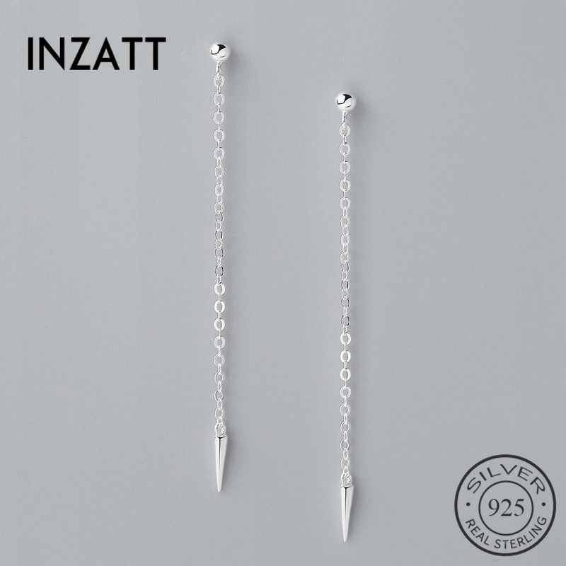 INZATT Minimalis Nyata 925 Sterling Silver Menjuntai Water Drop Earrings Panjang 2018 Trendy Rantai Rumbai Untuk Wanita Fashion Jewelry