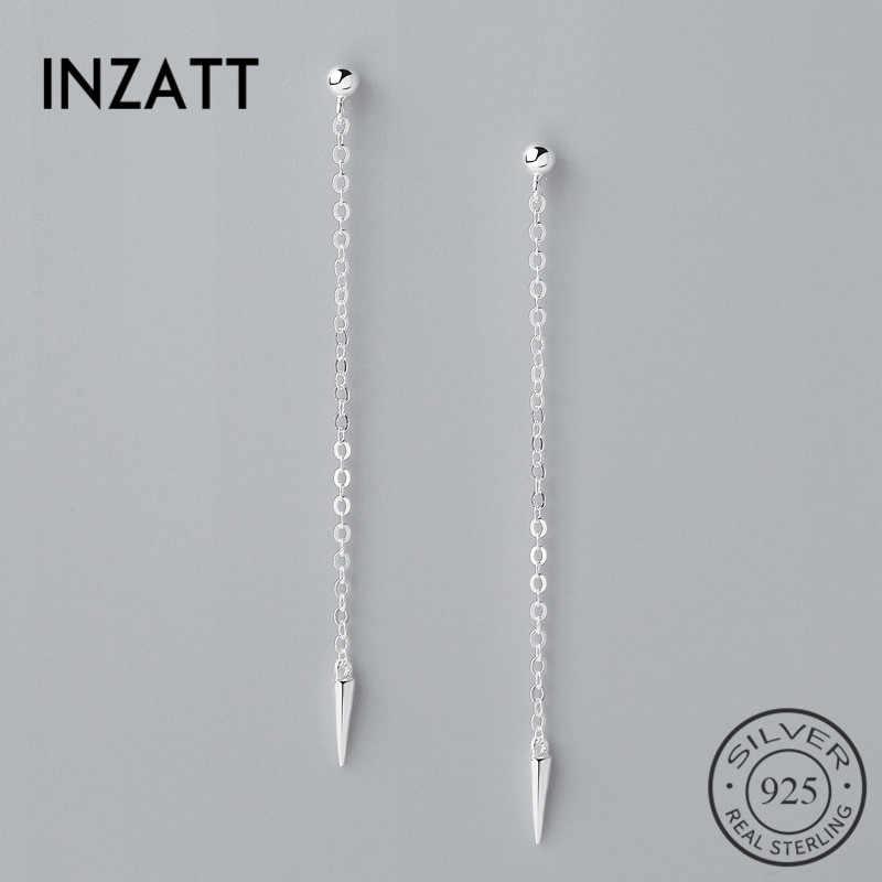 INZATT минималистский Настоящее серебро 925 проба Висячие длинные серьги-подвески 2018 трендовая цепочка с кисточками для женщин модные ювелирные изделия