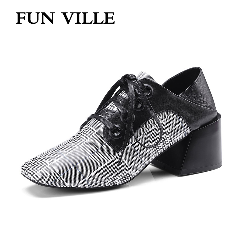 FUN VILLE 2018 Spring New Fashion Genuine Leather pumps woman shoes Hoof heels Square toe lace up Sexy Ladies shoes size 34-42