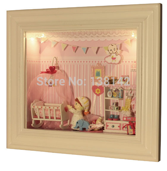 Ok004 Child bed room diy miniature dollhouse ( voice-activated lights/ held on the wall ) picket doll home for adornment