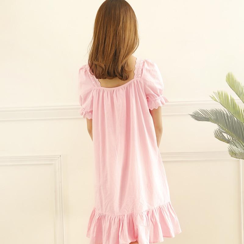 Short Sleeved Pink Nightgowns for Women Sleepwear Viscose Ruffled Princess Night Gown Lace Trim Summer Nightwear Sleeping Dress