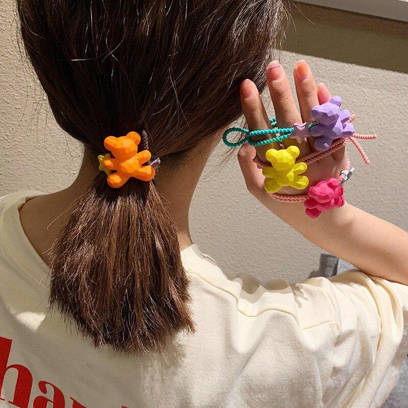1PCS New Cute Bear Head Children Hair Ropes Elastic Rubber Hair Band Girls Hair Accessories Baby   Headwear   Kids Headdress