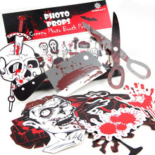 Pack of 22 Funny Halloween Photo Booth Props Scary and Party Supplies Themed Birthday Wedding Zombie Decor