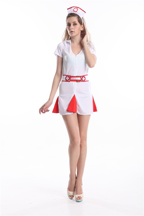 Free Shipping Summers Womens Naughty Nurse Outfit White Red Sexy Fancy Dress Costume Halloween Costume Size S M L Xl 2Xl 3Xl-In Sexy Costumes From -8804
