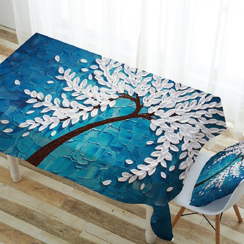 Simple Moderne Polyester Bleu Table À Manger Tissu Accueil Bureau Couverture Café Nappes Avec Arbres Motif