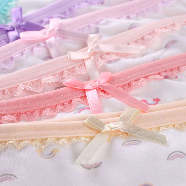 ddff2856fd Breathable cuecas cotton underwear panties lace summer knickers Japanese  Sweet Girls Briefs hare low waist underpants