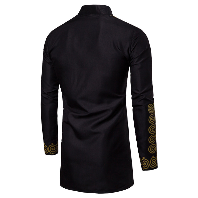 Image 5 - Men African Gold Polished Dashiki Turtleneck Half Button Shirt High Collar Asymmetrical Tailcoat Tunic Groom Top For Men 3XL-in Africa Clothing from Novelty & Special Use