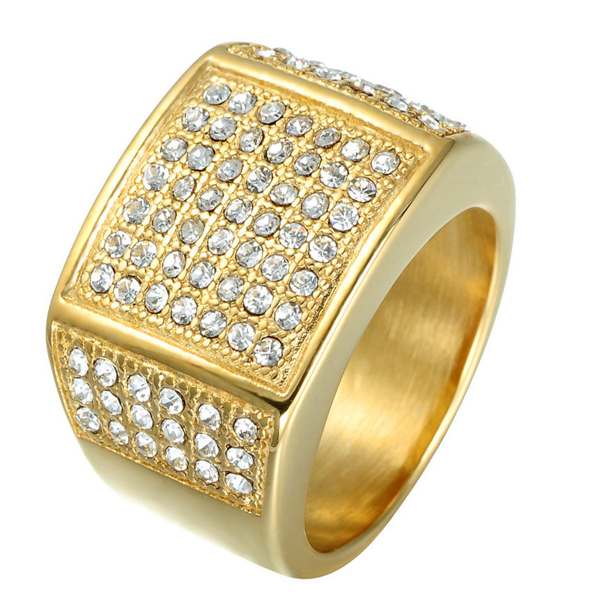 Mens Ring Gold Color Classic Male Vintage Men Ring Full Stone Cz