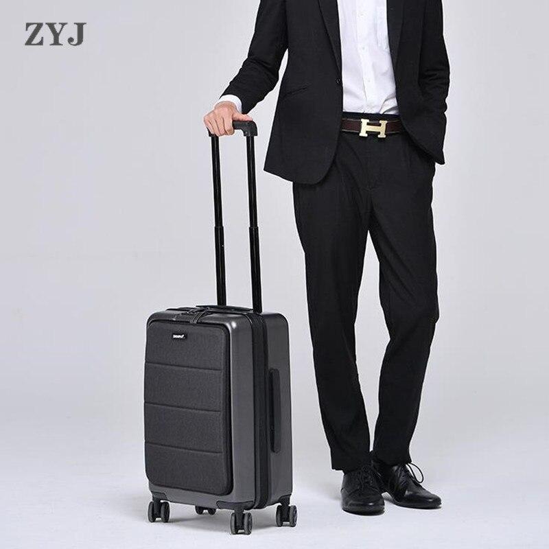 ZYJ étanche affaires voyage chariot bagages cadre en aluminium TSA alliage roulant avion valise valise Code à bagages