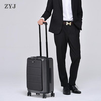 ZYJ Waterproof Business Travel Trolley Luggages Aluminum Frame TSA Alloy Rolling Airplane Suitcase Luggage Code Case