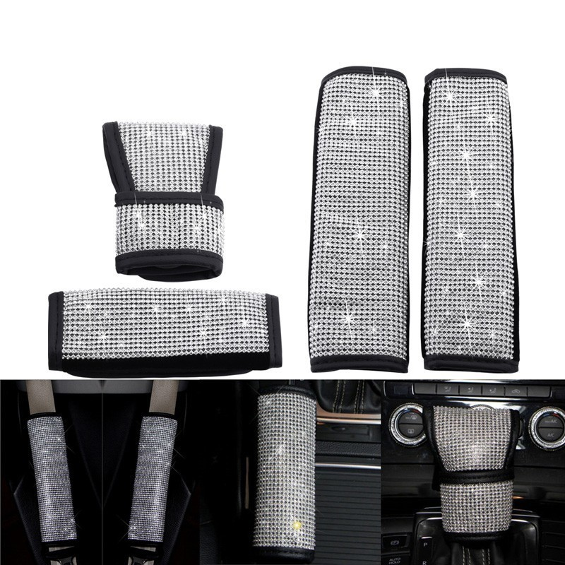 Full Diamond Crystal Auto Shiny Hand Brake Seat Belt Cover Anti-slip Parking Hand Brake Grips Sleeve Gear Shift Stick Cover