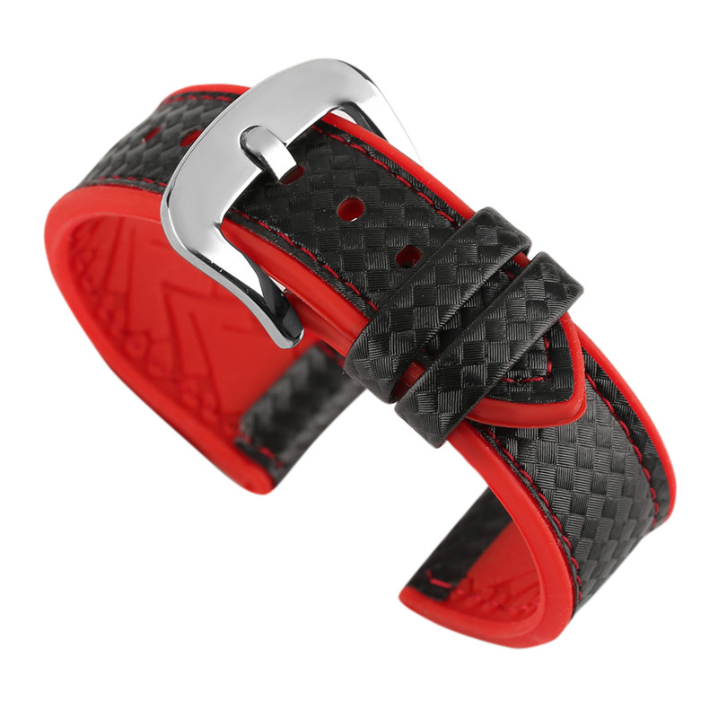 New Arrival 20mm/22mm Silicone+Leather Watchband Waterproof Fashion Best Watch Strap Replacements for Sport Wristwatch jansin 22mm watchband for garmin fenix 5 easy fit silicone replacement band sports silicone wristband for forerunner 935 gps