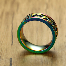 Rainbow Modest Steel Chain Lesbian Rings For Real Love Couple