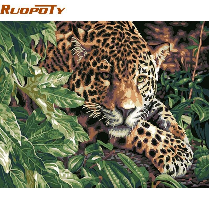 RUOPOTY Animali Pittura di DIY Dai Numeri Dipinto A Mano Olio Pittura Immagine Casa Wall Art Per Soggiorno Opere D'arte fai da te telaio 40x50 cm