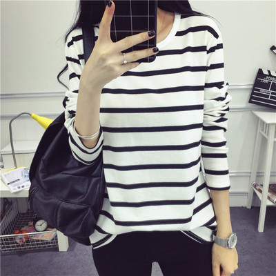 Us 4 56 Hgfs 2019 Striped Shirt Long Sleeve Black And White Stripes T Shirt Women Loose Student Bottom T Shirt Dropshipping In T Shirts From Women S