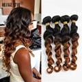 Peruana Ombre Hair Bundles Loose Weave 4 unids Lot Peruvian1B/Extensiones de Cabello 8-30 pulgadas Ombre Ombre Weave Brading Pelo Virginal ML412