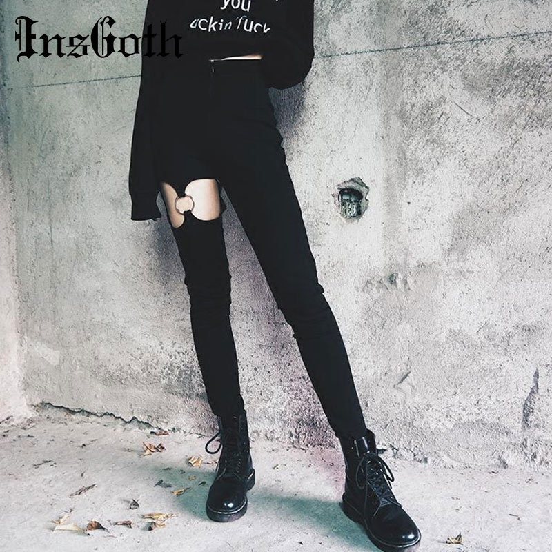 InsGoth Black Pencil Pants Women Gothic Hip Hop Hollow Out Patchwork Hollow Out Chain Ring Long Trousers Streetwear Female Pants