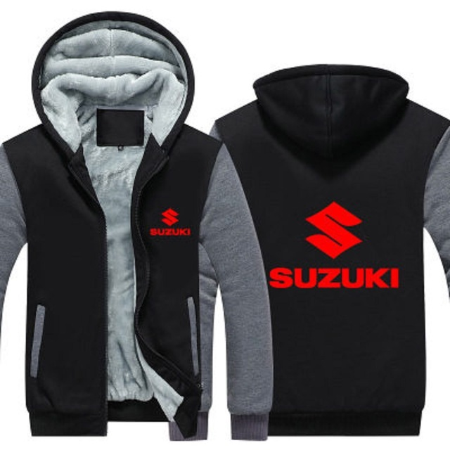 Hot New Winter Coat Printed Men's Baseball FOR SUZUKI Suit Thickened Hoodies and Warm Coat Men's Cotton Jacket Moto Clothes