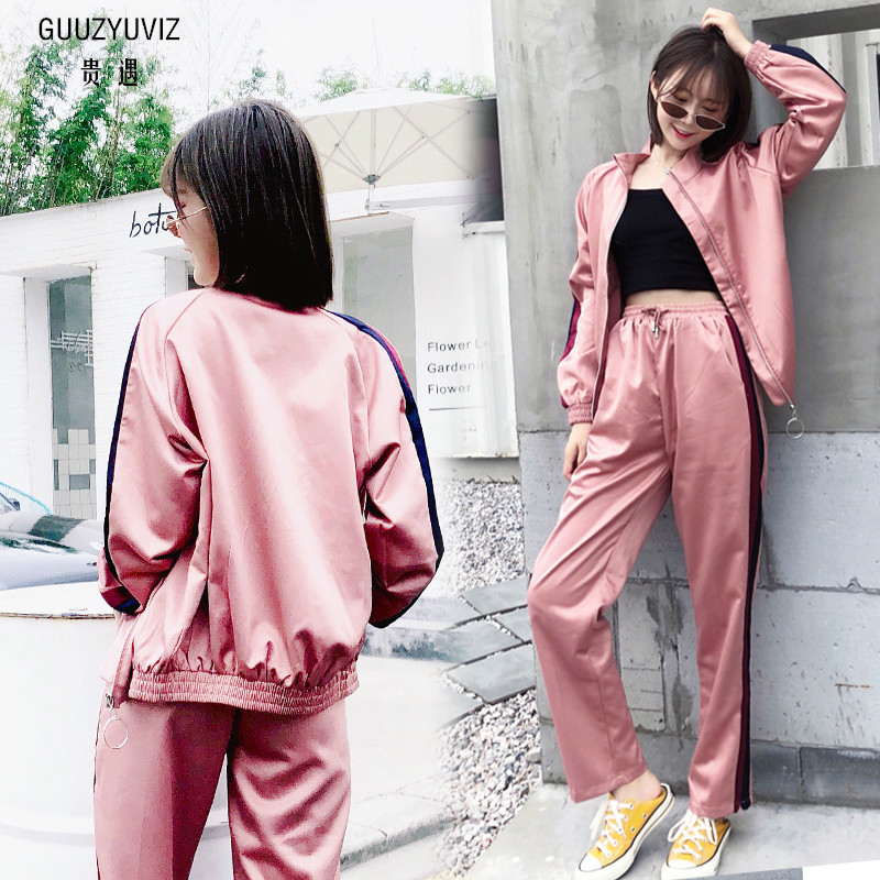 GUUZYUVIZ rose femmes ensemble vêtements 2018 automne hiver 2 pièces ensemble décontracté Zipprt rayé pantalons et haut femmes entraînement Vrouwen