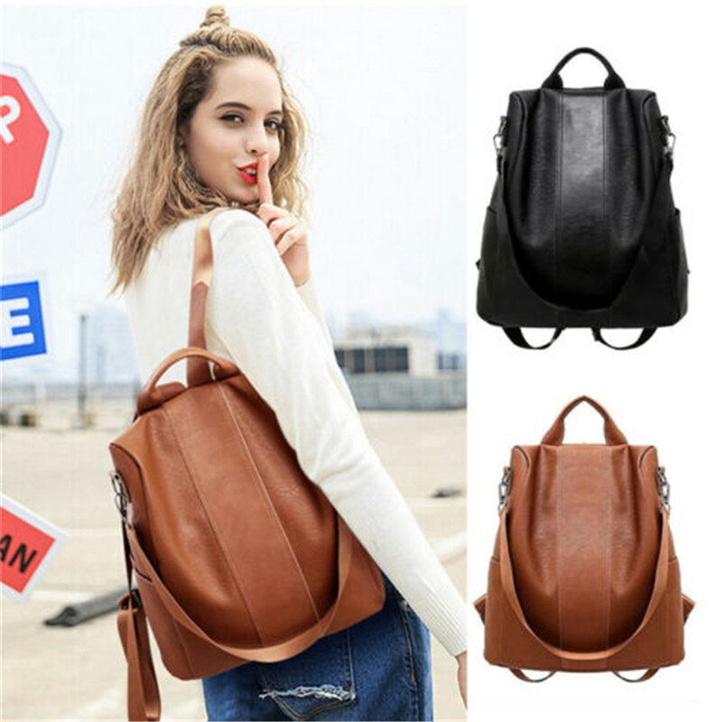 Fashion Lady Women PU Leather Backpack Large Capacity Travel Shoulder Bag Multi-use Adjustable  Girls Ladies Rucksack