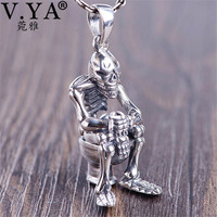 V.YA Funny Toilet & Skull Pendant 925 Sterling Silver Pendants Necklaces for Men Male Hiphop Rock Style Jewelry
