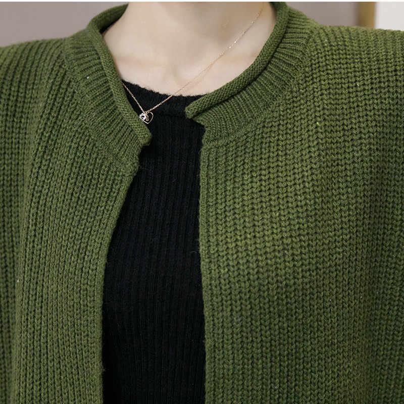 Осень Зима длинный свитер жилет женский вязаный кардиган без рукавов куртка женский весенний Свободный жилет пальто 2019 Корейский жилет