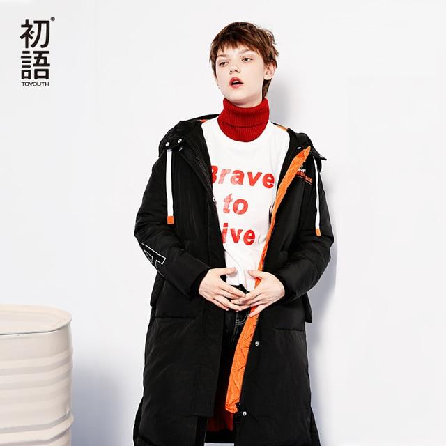 Toyouth Пуховые пальто 2017 Зима Для женщин Мода Контрастность Цвет прямые тепло Сгущает белая утка длинный пуховик