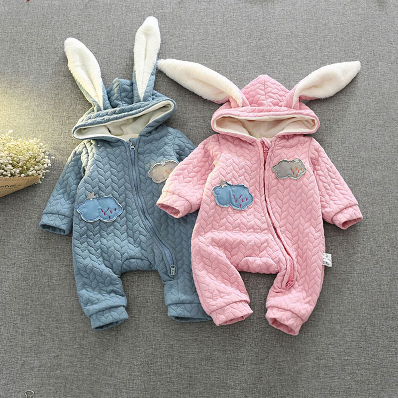 Newborn Baby Autumn Winter Cotton Cartoon Hooded Romper Infant Boy Girl Warm Outerfit Jumpsuit Thick Clothing Clothes 0-24Months newborn baby boy girl 5 pcs clothing set cotton cartoon monk tops pants bib hats infant clothes 0 3 months hight quality