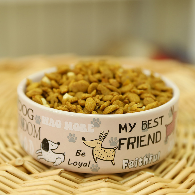Lovely Pet Feeders English Cartoon Pattern High Quality Thick Non slip Ceramics Bowls for Dogs and Cats Pet Supplies Accessories in Dog Feeding from Home Garden