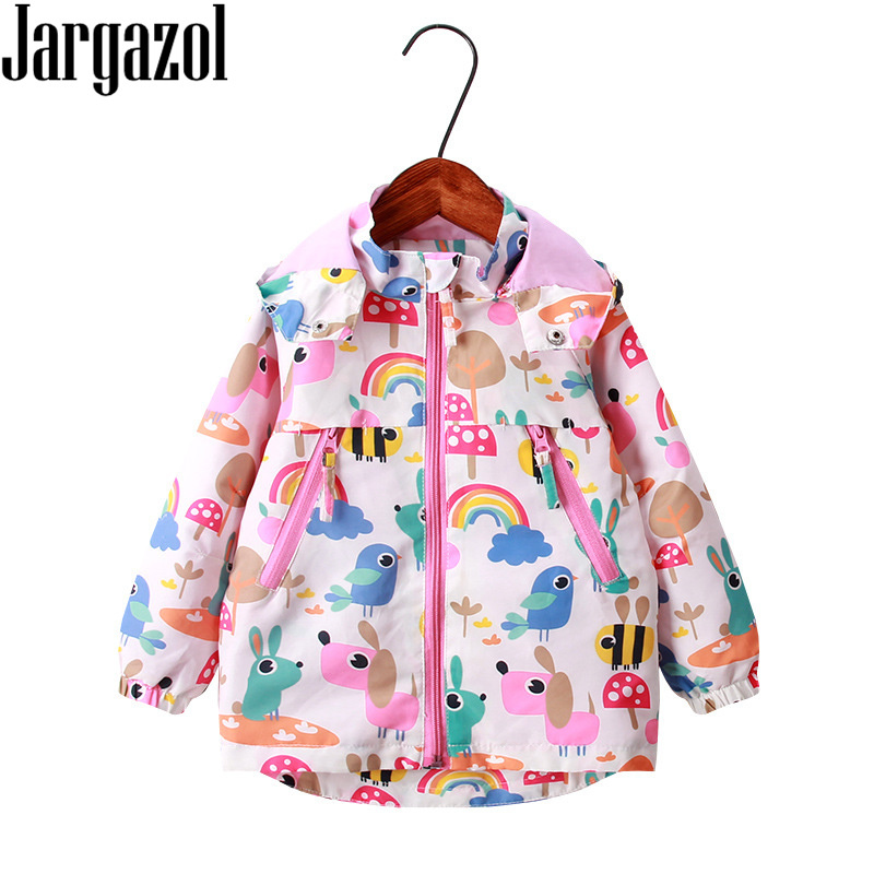 Toddler Girl Jacket Coat Cartoon Rainbow Bird Printed Winter Autumn Spring Fleece Hooded Kids Jackets Children Clothes Coats