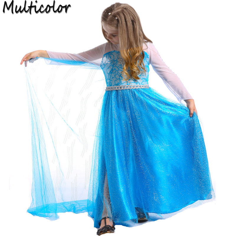 2016 High Quality Custom Anna Elsa Girls Princess Children Clothing Kids Dress Cloth Party Vestidos Infants Dress Baby Dresses
