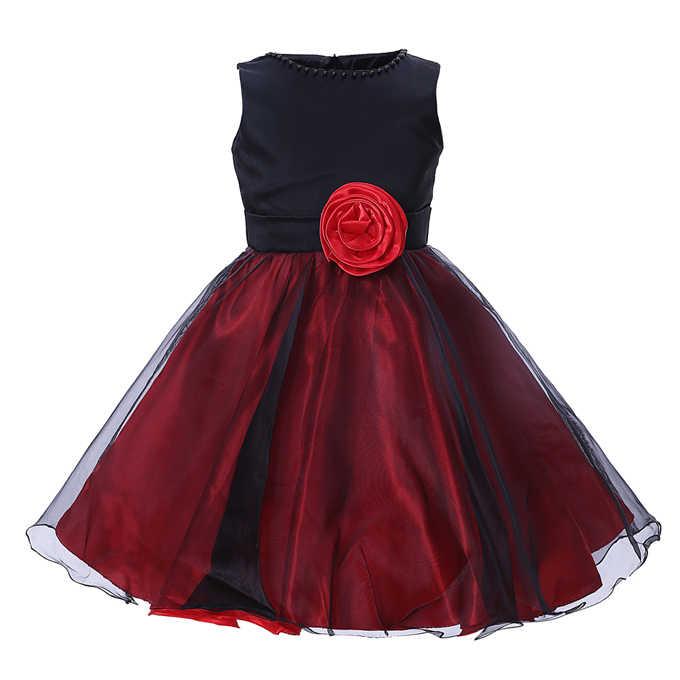 Cutestyles/платье для свадебной вечеринки для маленьких девочек платья принцессы с цветочным принтом для маленьких девочек, цвет черный, красный Пижама для девочки, сарафан GD40420-6