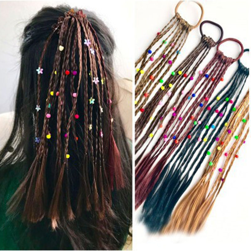 2pcs Children Wig Braids Multi-color Mini Clip Kids Elastics Hair Bands MW