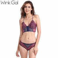 2017 Wink Gal Sexy Women Bra Set Embroidery Floral Lace Lingerie Mesh Push Up Underwear Ultra
